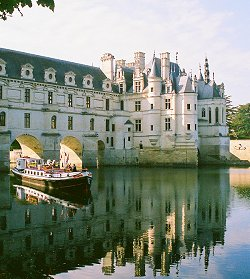 Nymphea cruising under the arches of the famous Chateau Chenonceaux in the Loire Valley, France