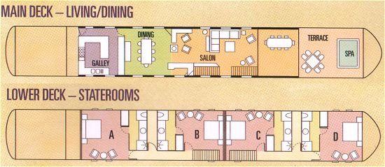 Deck plan includes cabins on the lower deck and an upper deck with salon, dining room, and sun deck.