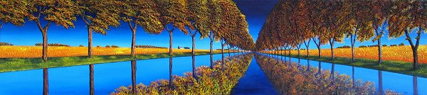 Le Canal du Midi - original TextureScape by Ronnie Ford, acrylic on wrapped canvas, 16in x 72in