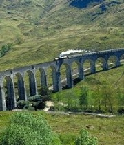 The Hogwarts Express on the Glenfinnan Viaduct