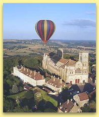 hot air balloon above Vezelay
