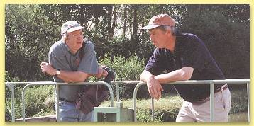 Derek Banks and Captain Leigh Wootton leaning on the lock gates, discussing what..??