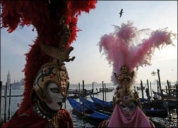 Carnival masks with plumes
