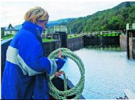 Davina does diuble duty as she assists at a Lock