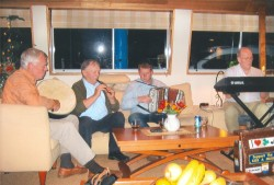 Musicians play traditional Irish folk music