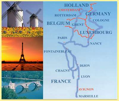 from Avignon in the South to Amsterdam in the North - follow the trail and experience the trip of a lifetime